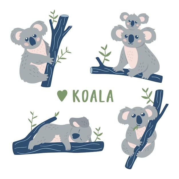 Collection de bandes dessinées koala bears. Vecteur Premium