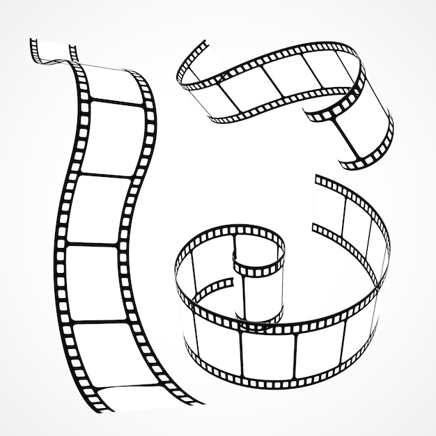 Collection De Bandes De Films Vectoriels 3d Vecteur gratuit