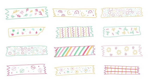 Collection De Bandes De Washi Dessinées Mignonnes Vecteur Premium