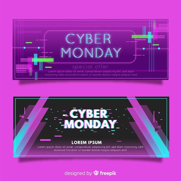 Collection de bannière abstraite cyber lundi vente Vecteur gratuit