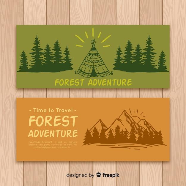 Collection de bannière de camping dessiné à la main Vecteur gratuit