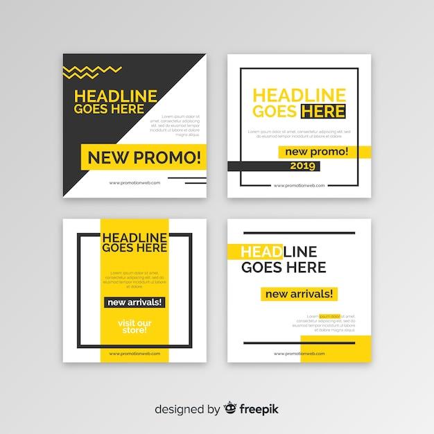 Collection de bannière carrée de promotion Vecteur gratuit