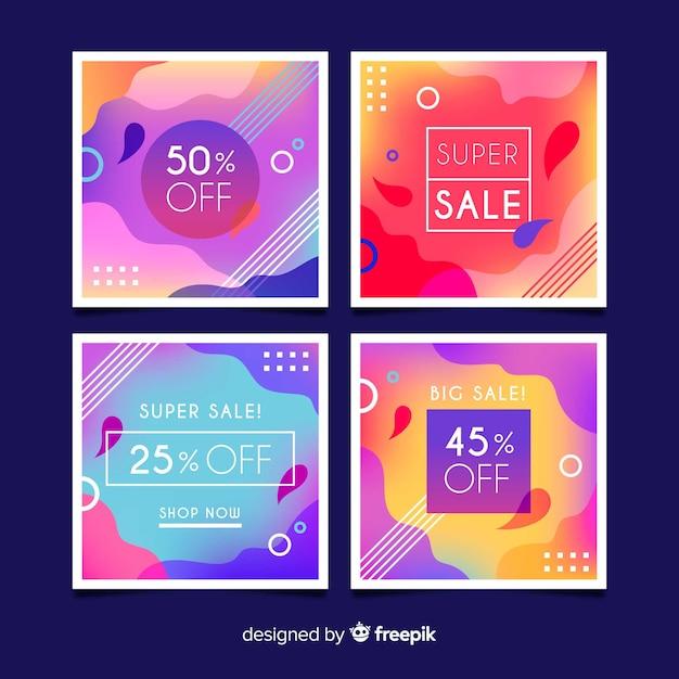 Collection de bannière carrée promotionnelle Vecteur gratuit