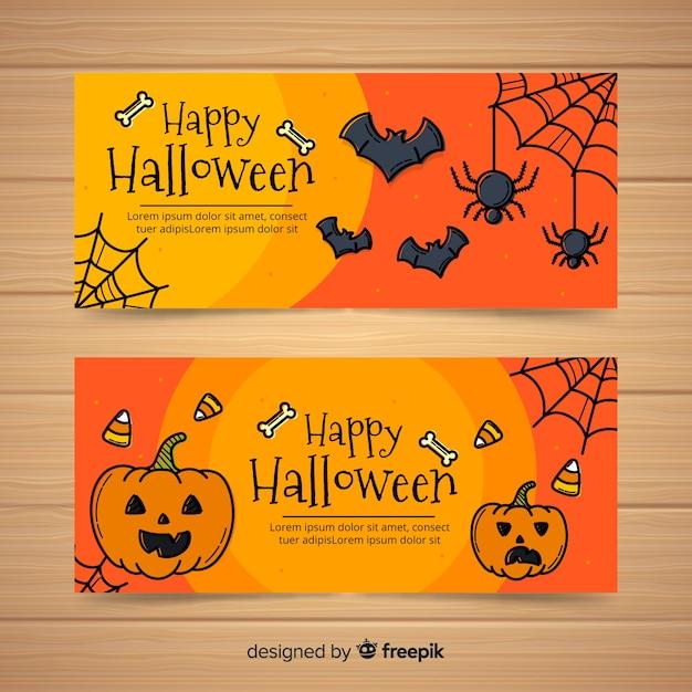 Collection de bannière heureuse halloween avec araignées et citrouilles dans un style dessiné à la main Vecteur gratuit