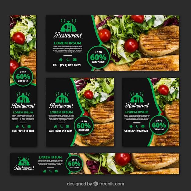 Collection de bannière de restaurant de nourriture saine avec des photos Vecteur gratuit