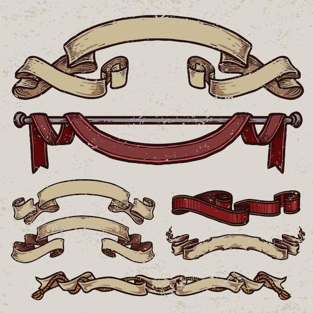 Collection de bannière de ruban vintage Vecteur Premium