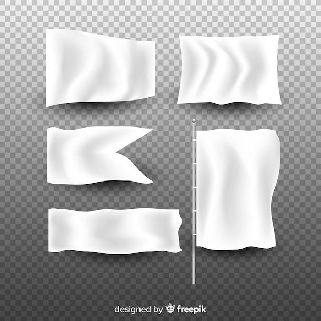 Collection de bannière en tissu blanc Vecteur gratuit