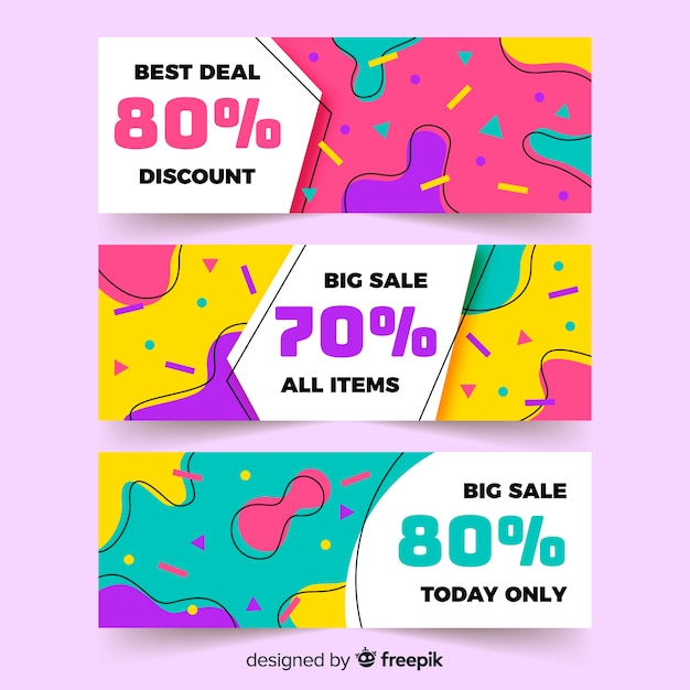 Collection de bannière de vente colorée dans le style de memphis Vecteur gratuit