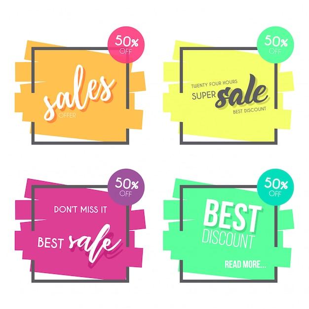 Collection de bannière de vente colorée Vecteur gratuit