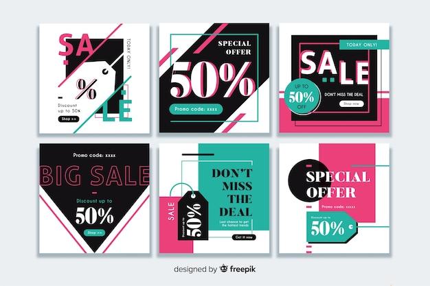 Collection de bannière de vente moderne pour les médias sociaux Vecteur gratuit