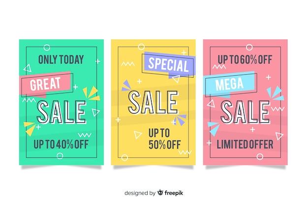 Collection de bannière de vente style memphis Vecteur gratuit