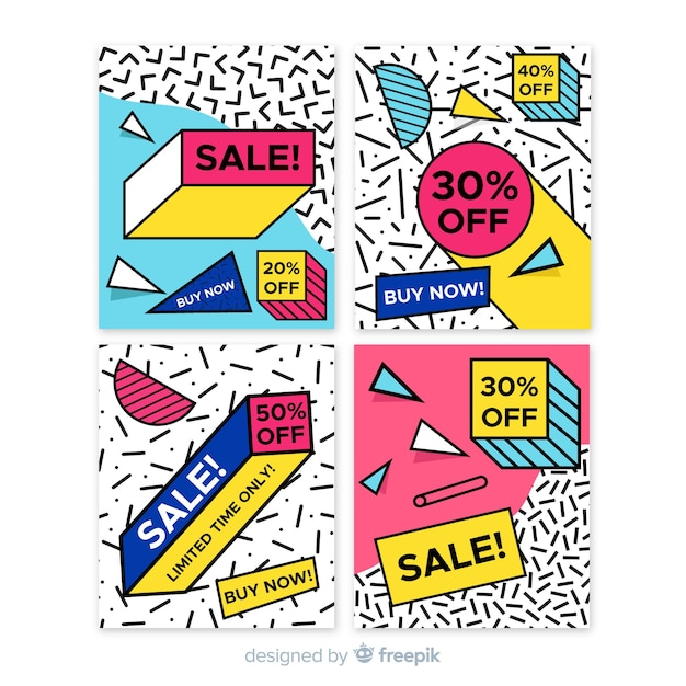 Collection de bannière de vente de style memphis Vecteur gratuit