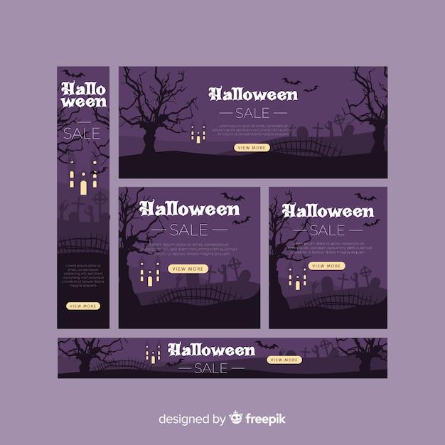 Collection de bannière web halloween avec design plat Vecteur gratuit