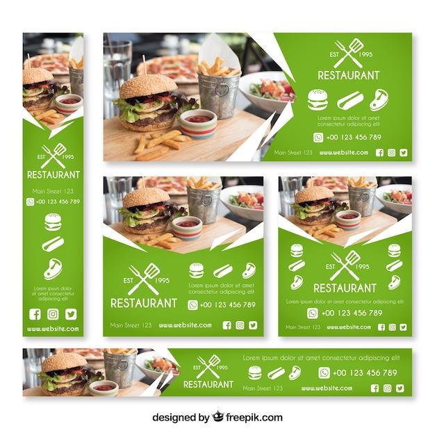 Collection de bannière web restaurant burger avec photo Vecteur gratuit