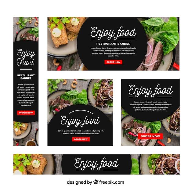 Collection de bannière web restaurant avec photo Vecteur gratuit