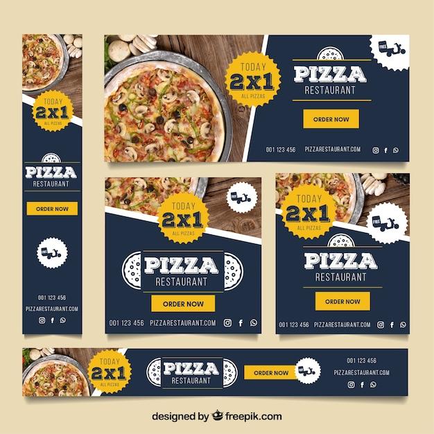 Collection de bannière web restaurant pizza avec des photos Vecteur gratuit