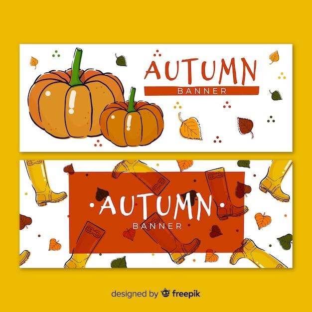Collection de bannières automne dessinés à la main Vecteur gratuit