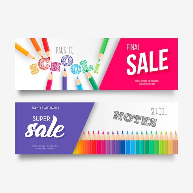 Collection de bannières colorées de retour à l'école Vecteur gratuit