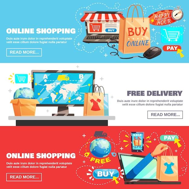 Collection de bannières de commerce électronique Vecteur gratuit