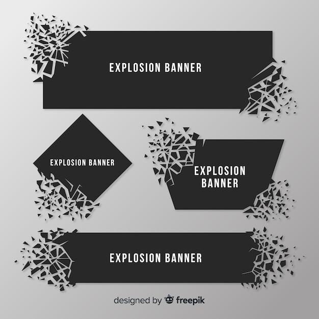 Collection De Bannières Dark Explosion Vecteur gratuit