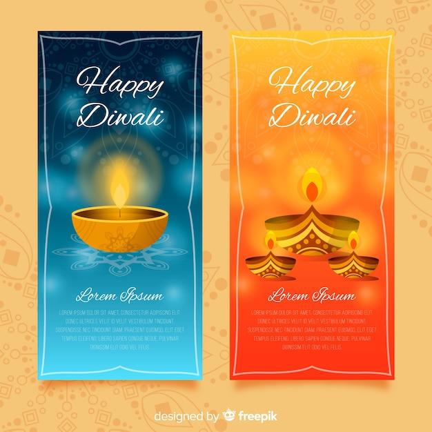 Collection de bannières diwali heureux Vecteur gratuit