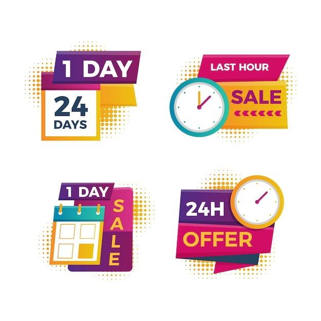 Collection de bannières du compte à rebours des ventes Vecteur gratuit