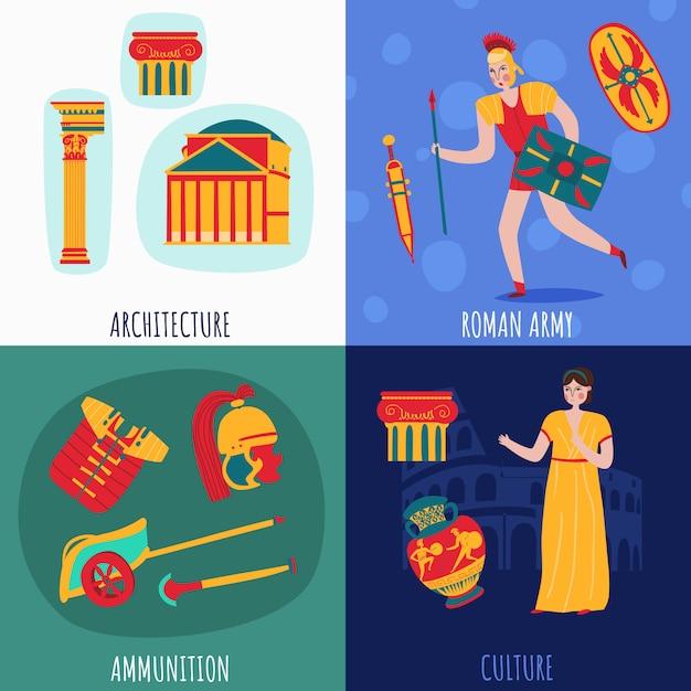 Collection De Bannières De L'empire De Rome Antique Vecteur gratuit