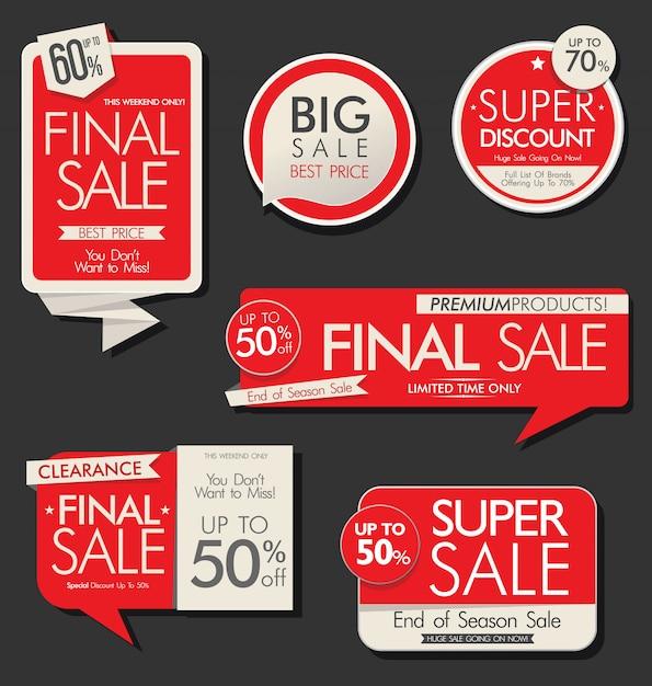 Collection de bannières et étiquettes de vente moderne Vecteur Premium