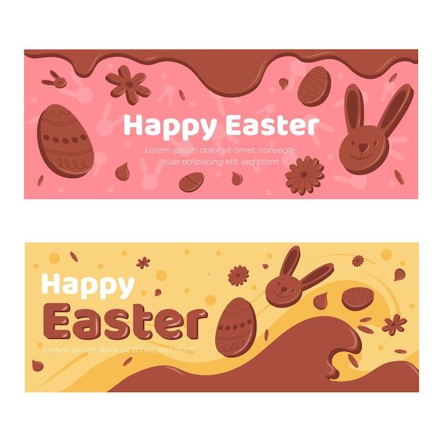 Collection De Bannières Festives De Pâques Au Chocolat Vecteur gratuit