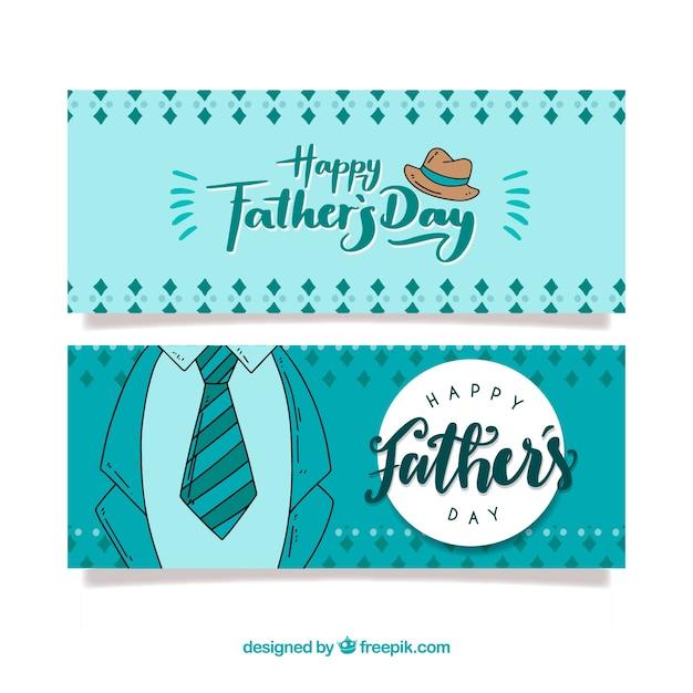 Collection de bannières fête des pères avec costume Vecteur gratuit