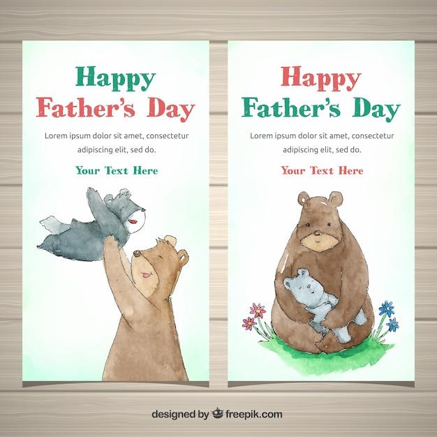 Collection de bannières de fête des pères avec la famille des ours Vecteur gratuit