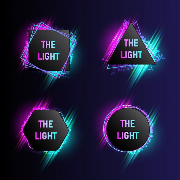 Collection de bannières de lumière moderne avec 4 formes abstraites Vecteur Premium