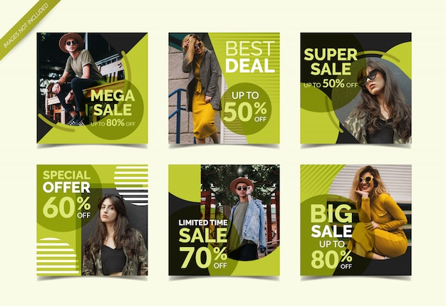 Collection de bannières de médias sociaux de mode vente Vecteur Premium