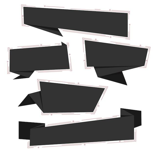 Collection de bannières de médias sociaux en papier origami noir vendredi noir Vecteur Premium
