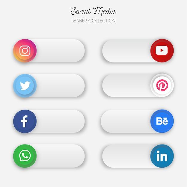 Collection de bannières de médias sociaux Vecteur gratuit