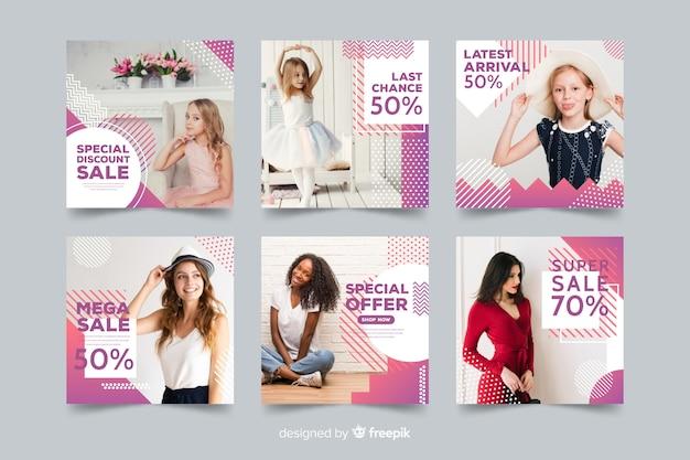 Collection de bannières de mode avec photo Vecteur gratuit