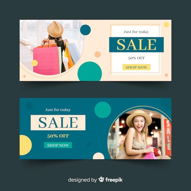 Collection de bannières de mode Vecteur gratuit