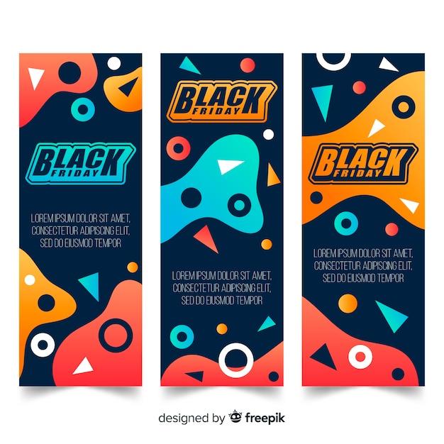 Collection de bannières noires de vendredi Vecteur gratuit