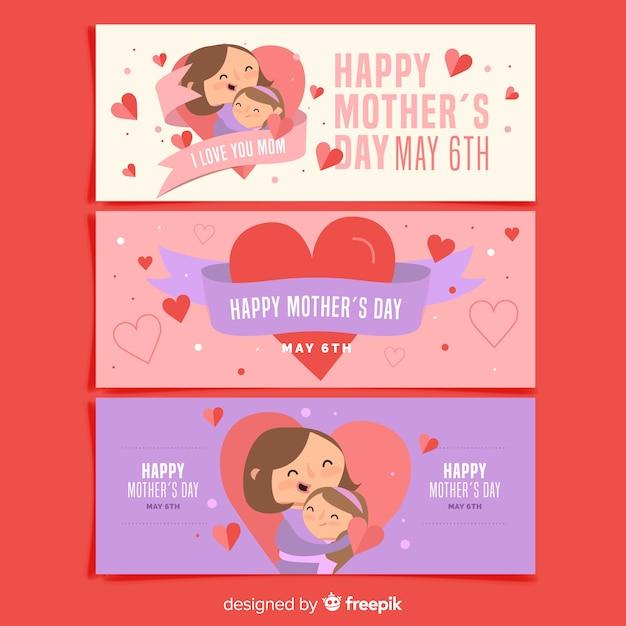 Collection de bannières pour la fête des mères Vecteur gratuit