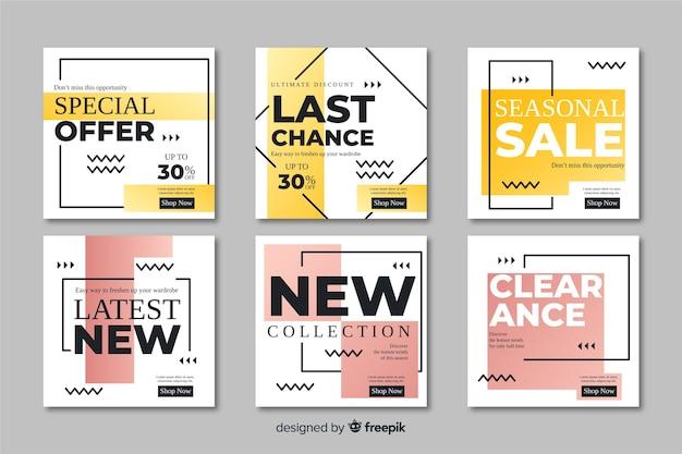 Collection de bannières de promotion de vente abstraite Vecteur gratuit