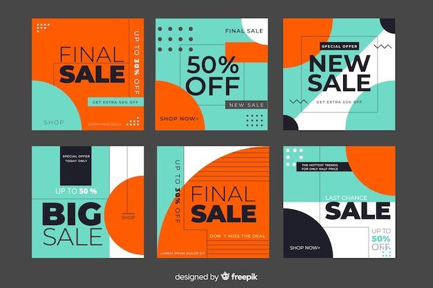 Collection de bannières de promotion des ventes pour les médias sociaux Vecteur gratuit