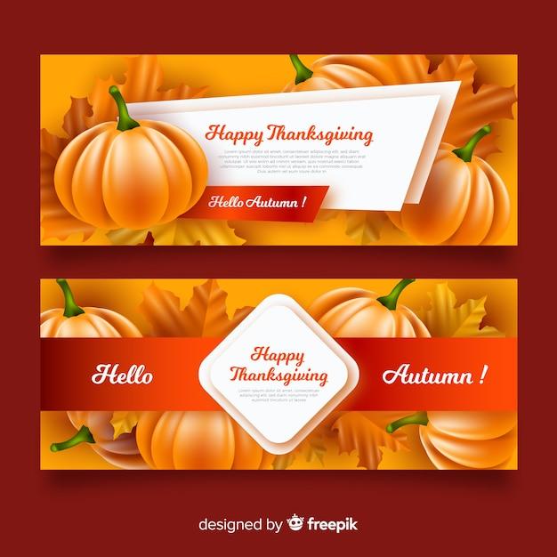 Collection de bannières réalistes du jour de thanksgiving Vecteur gratuit