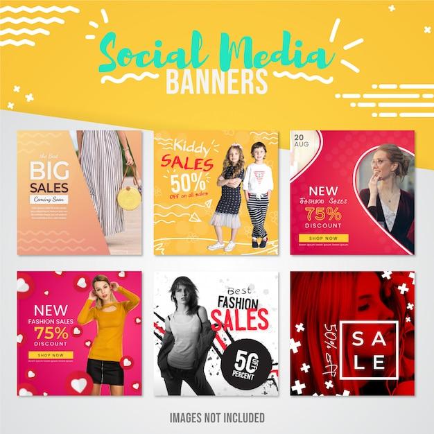 Collection de bannières de réseaux sociaux sur les ventes de mode moderne à utiliser sur les publications instagram pour les offres spéciales Vecteur Premium