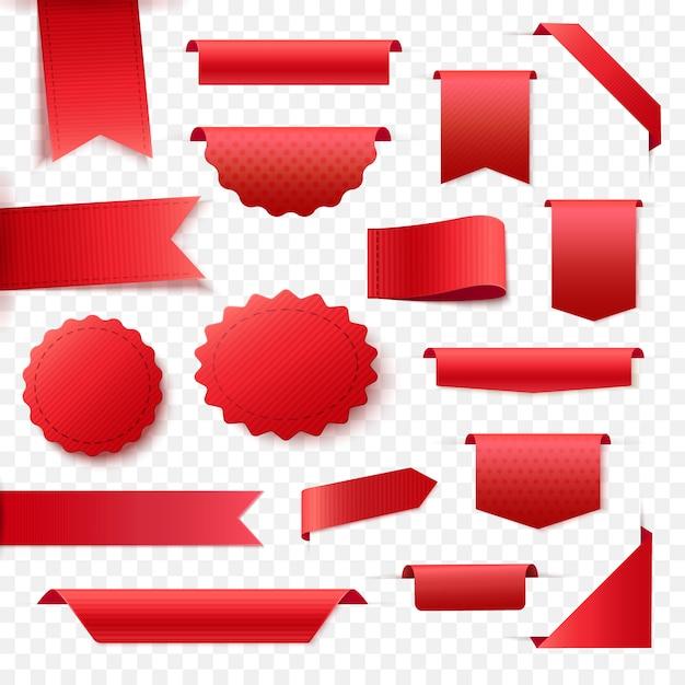 Collection De Bannières De Ruban Rouge Blanc. étiquettes Et étiquettes Pour Toute Conception De Promotion. Vecteur Premium