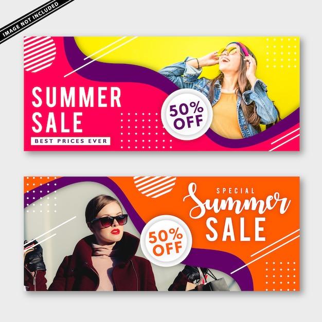Collection de bannières de soldes d'été Vecteur Premium