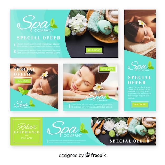 Collection de bannières spa avec photo Vecteur gratuit