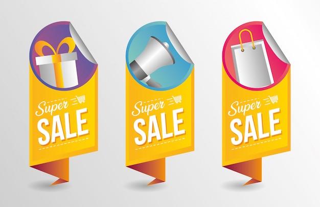 Collection de bannières super vente Vecteur gratuit