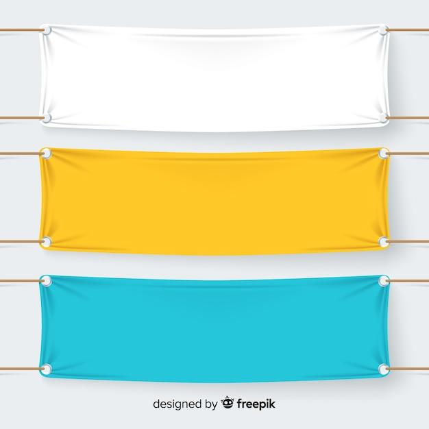 Collection De Bannières Textiles Vecteur gratuit