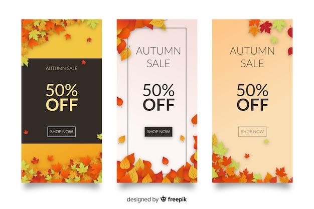 Collection de bannières de vente automne design plat Vecteur gratuit