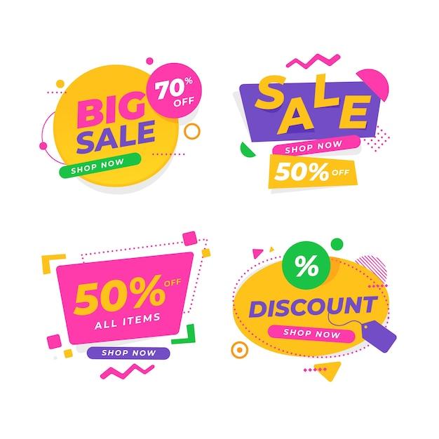 Collection de bannières de vente colorées Vecteur gratuit